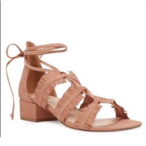 Nine West Blush Fringe Lace Up Block Heel Sandals